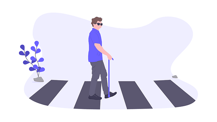 A rendered illustration of an accessible pedestrian signal in the form of a textured crosswalk being used by a visually impaired pedestrian.