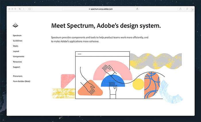 A screenshot of Adobe Spectrum's landing page, a specialized design system with accessibility built in.