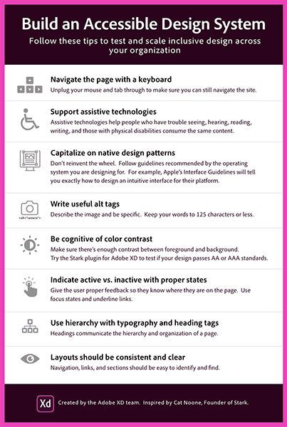 Infographic listing the following tips to assist in building an accessible design system: navigate the page with a keyboard, support assistive technologies, capitalize on native design patterns, write useful alt tags, be cognitive color contrast, indicate active vs inactive with proper states, use hierarchy with typography and heading tags, layouts should be consistent and clear.